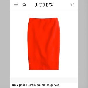 Jcrew No 2 Pencil Skirt Wool - Red sz 10